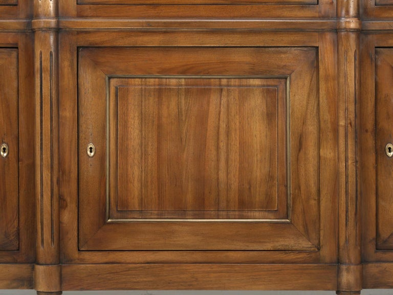 French Louis XVI Style Solid Walnut Buffet with Brass Trim For Sale 9