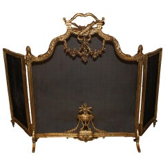 French Louis XVI Style, Three-Panel Bronze Fire Screen