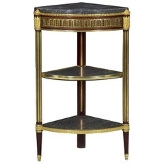 French Louis XVI Style Three-Tier Antique Side Table Corner Stand