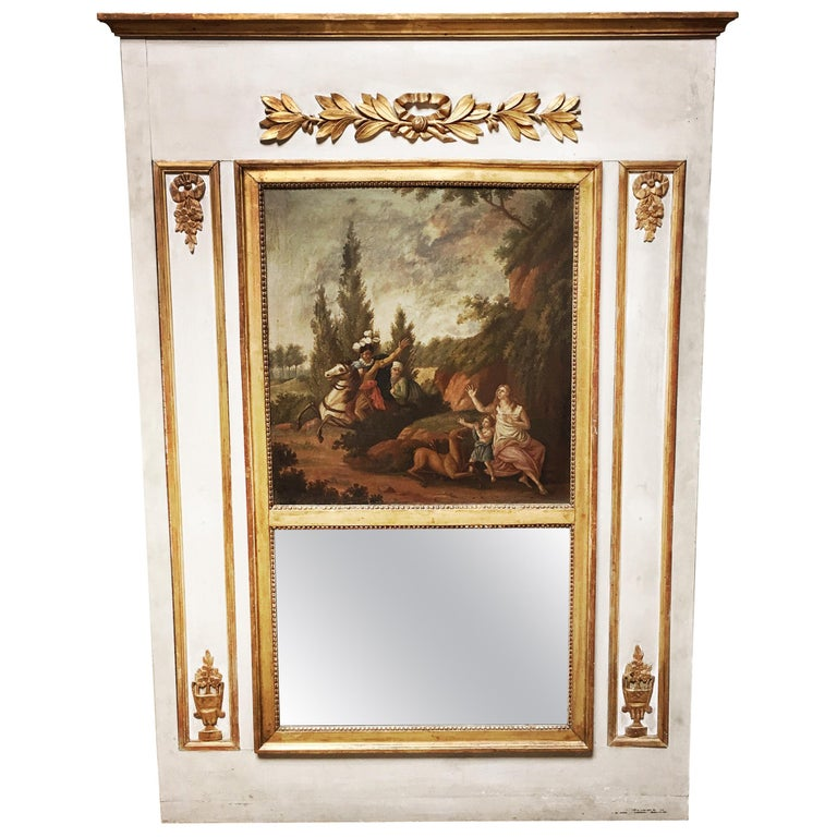 French Louis XVI Style Trumeau Mirror For Sale