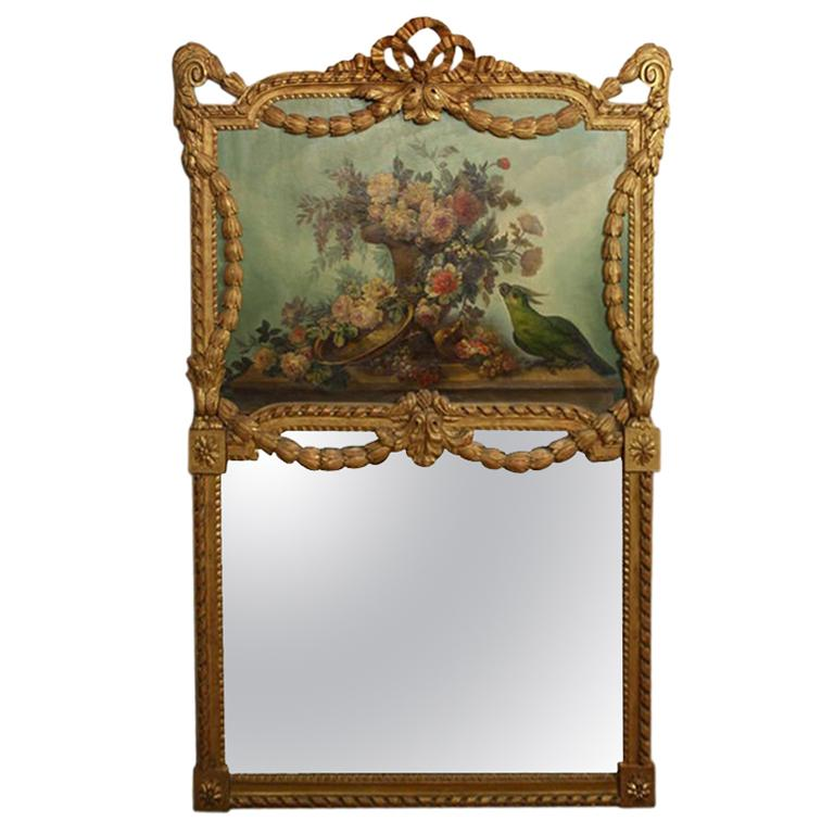 French Louis XVI Style Trumeau Mirror with Painted Floral Bouquet and Parrot For Sale
