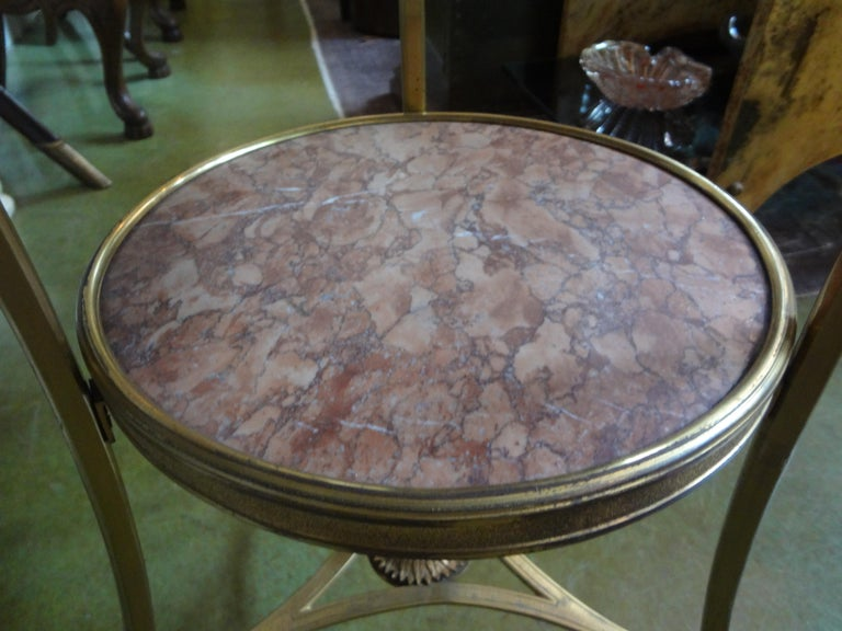 French Louis XVI Style Two Tier Bronze Dore and Marble Gueridon In Good Condition For Sale In Houston, TX