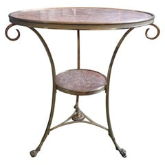 French Louis XVI Style Two Tier Bronze Dore and Marble Gueridon