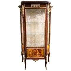 French Louis XVI Style Verni Martin Display Cabinet Vitrine