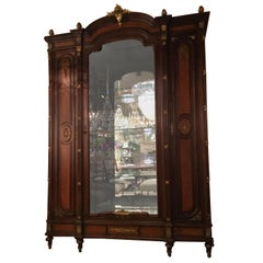 French Louis XVI-Style Vitrine/Display Cabinet, Marquetry Inlay, 3 Door