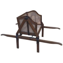 French Louis XVI Style Walnut Caned Sedan Chair