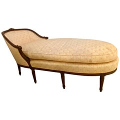 French Louis XVI Style Walnut Frame Chaise Lounge or Sofa