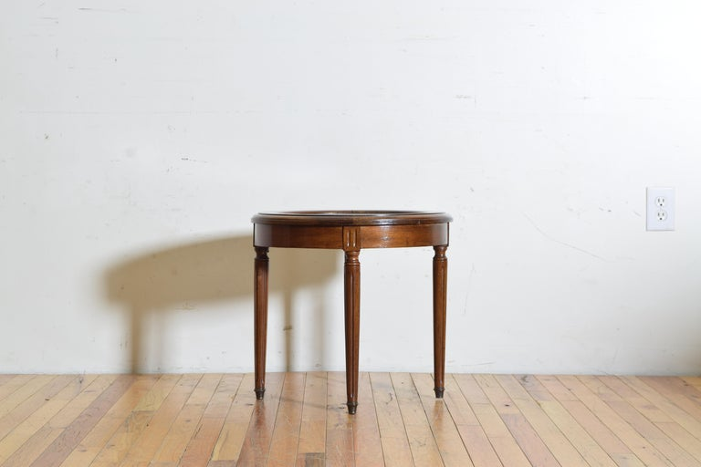 Early 20th Century French Louis XVI Style Walnut & Marble Top Circular Side Table, Early 20th Cen. For Sale