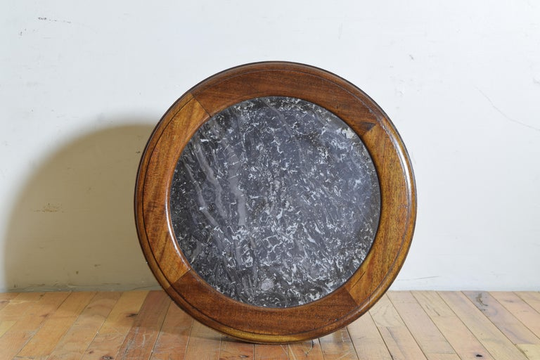 French Louis XVI Style Walnut & Marble Top Circular Side Table, Early 20th Cen. For Sale 4