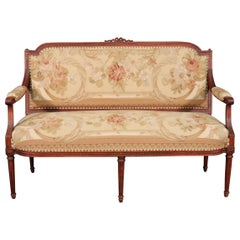 French Louis XVI Style Walnut Settee Canape with Tapestry Upholstery, circa 1930