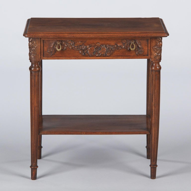 French Louis XVI Style Walnut Side Table, Early 1900s For Sale 9