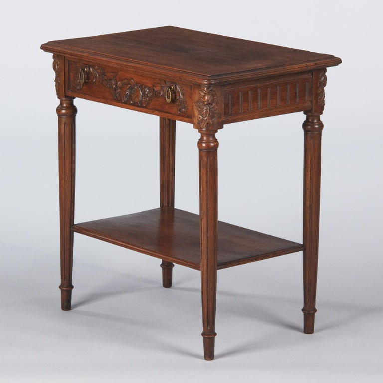 French Louis XVI Style Walnut Side Table, Early 1900s For Sale 10