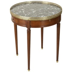 French Louis XVI Style Walnut Table Bouillote Side Table with Marble Top