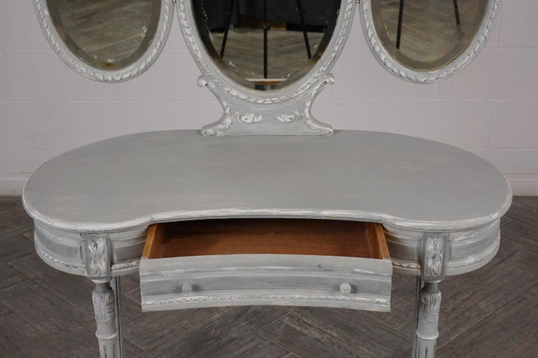 Mirror French Louis XVI-Style Walnut Vanity, circa 1900s For Sale