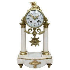 French Louis XVI Style White Marble and Bronze Gilt Mantel Clock by Samuel Marti