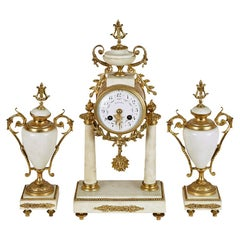 French Louis XVI Style White Marble and Gilt Metal Mounted Clock Set