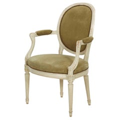 French Louis XVI Style White Paint and Suede Leather Vintage Armchair