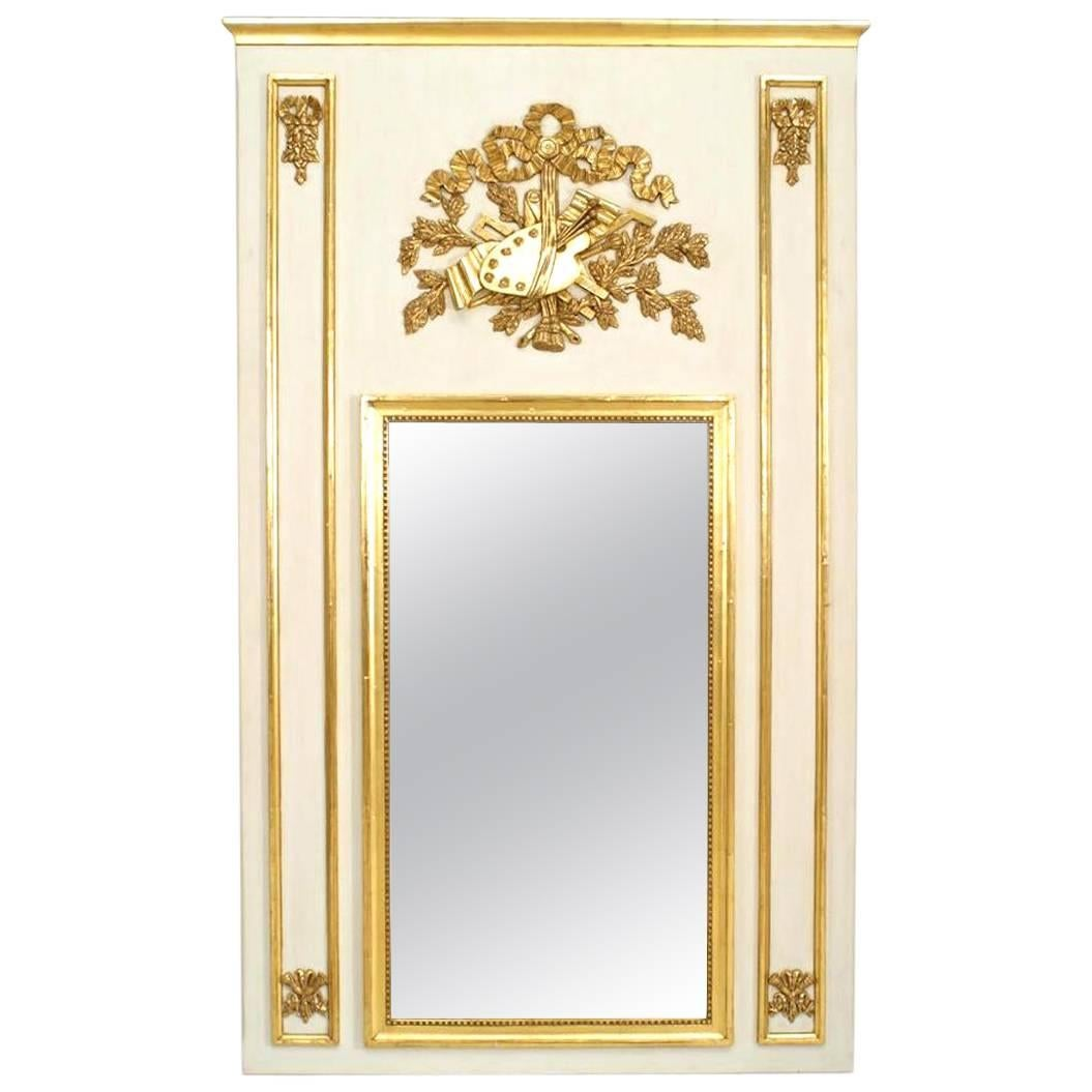 Louis XVI Style White and Gold Painted Art Motif Trumeau / Wall Mirror