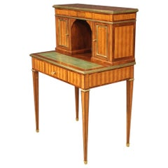 French Louis XVI Style Writing Desk in Inlaid Wood, 20th Century