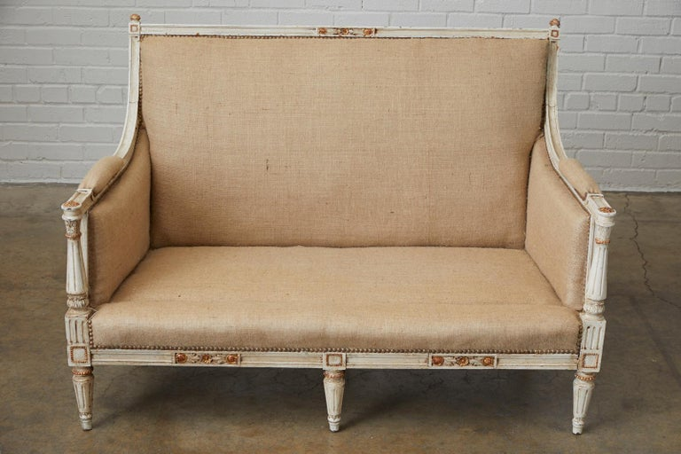 French Louis XVI Swedish Gustavian Style Painted Settee For Sale 6