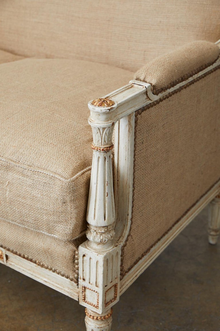 French Louis XVI Swedish Gustavian Style Painted Settee For Sale 7