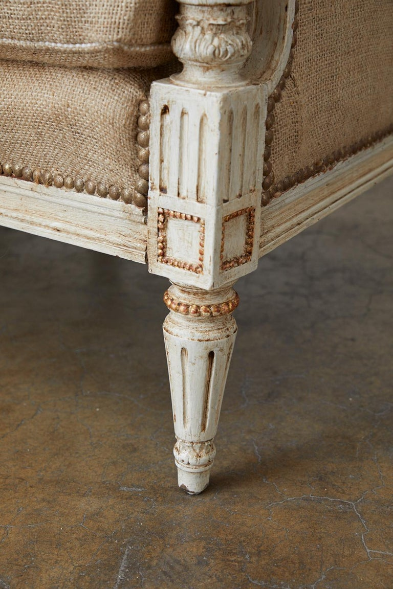 French Louis XVI Swedish Gustavian Style Painted Settee For Sale 8