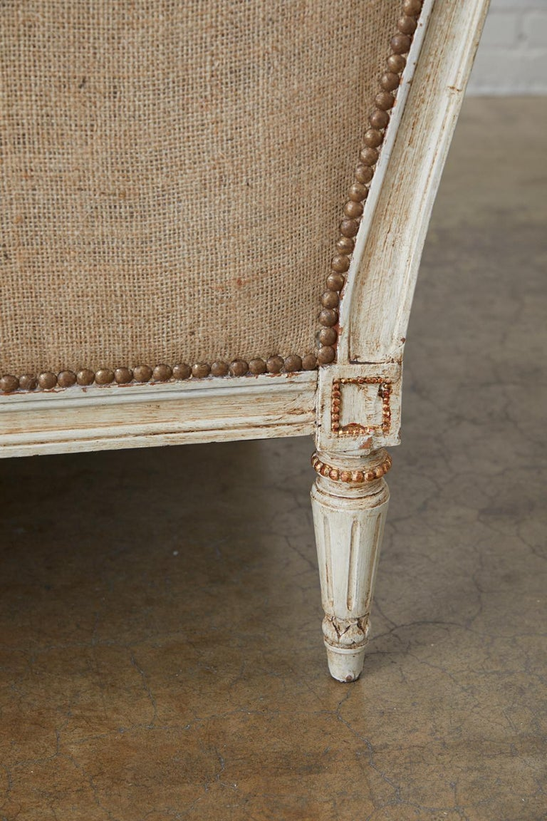 French Louis XVI Swedish Gustavian Style Painted Settee For Sale 11