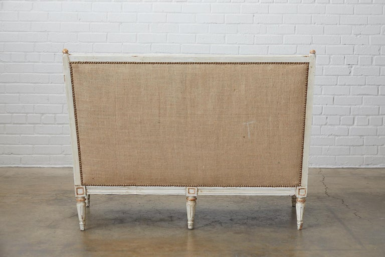 French Louis XVI Swedish Gustavian Style Painted Settee For Sale 13