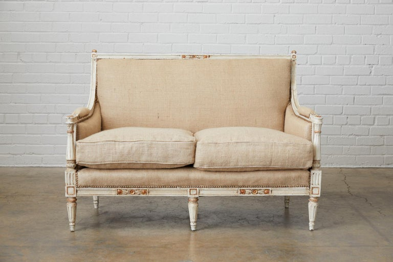 Hand-Crafted French Louis XVI Swedish Gustavian Style Painted Settee For Sale
