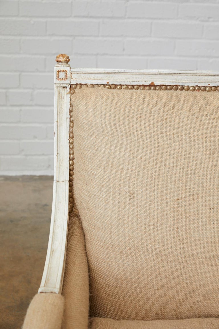 20th Century French Louis XVI Swedish Gustavian Style Painted Settee For Sale