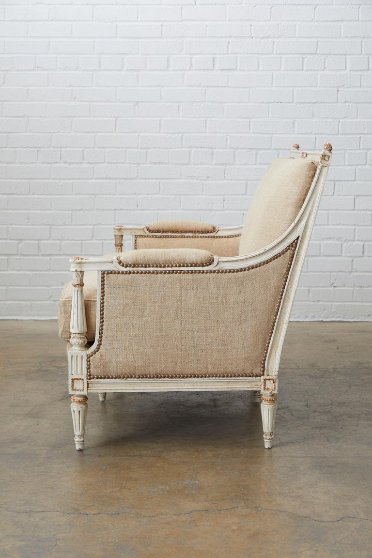 Brass French Louis XVI Swedish Gustavian Style Painted Settee For Sale