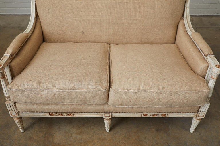French Louis XVI Swedish Gustavian Style Painted Settee For Sale 2