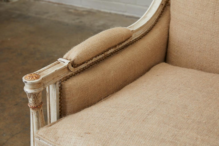 French Louis XVI Swedish Gustavian Style Painted Settee For Sale 3