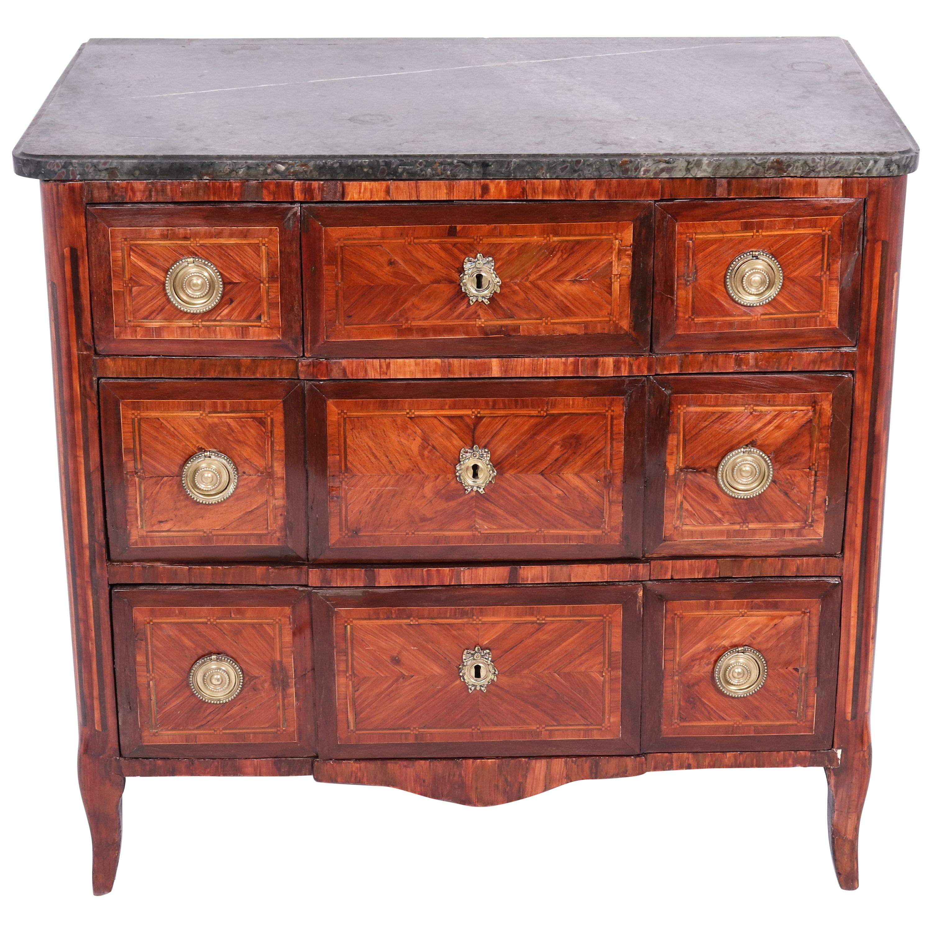 French Louis XVI Transition Style Marble-Top Commode