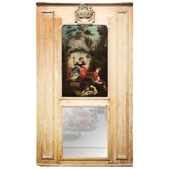 French Louis XVI Trumeau Mirror with an Oil painting after Fragonard