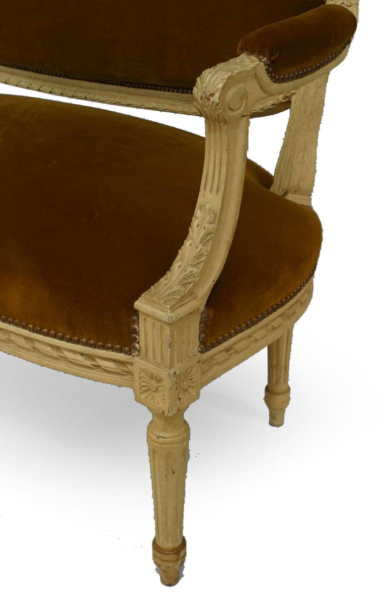 19th Century French Louis XVI Velvet Loveseat For Sale