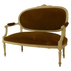 French Louis XVI Velvet Loveseat