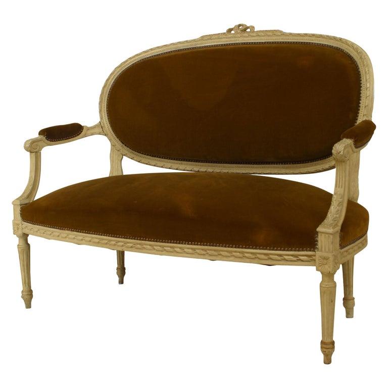 French Louis XVI Velvet Loveseat For Sale
