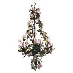French Louis XVI Vintage Vincennes Style Porcelain Floral Five-Arm Chandelier