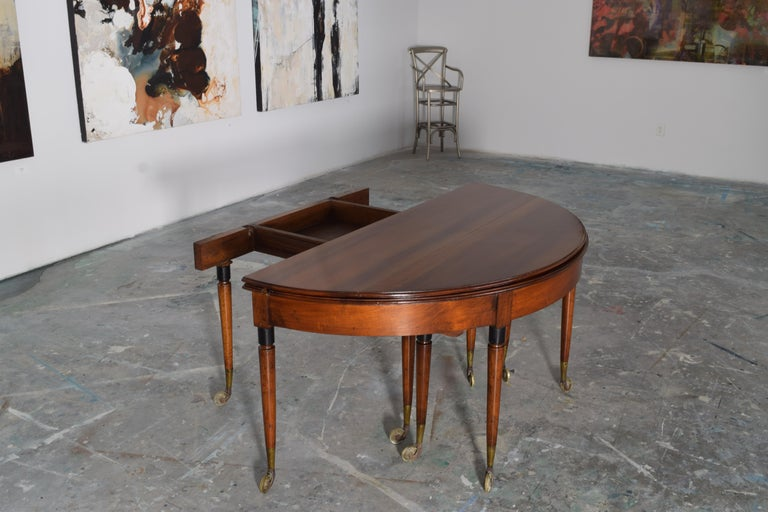 French Louis XVI Walnut and Brass Foldover Dining Table, Stamped