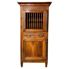 French Louis XVI Walnut Two Door Bonnetiere or Cabinet