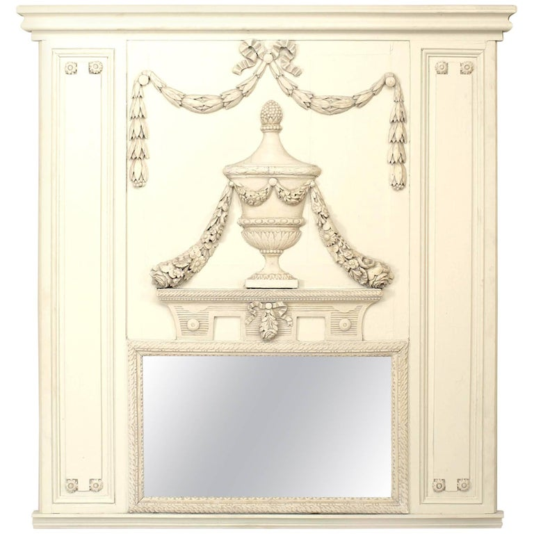 French Louis XVI White Painted Trumeau Mirror For Sale