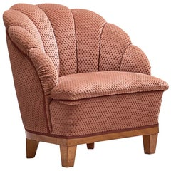 French Lounge Chair in Structured Soft Pink Upholstery