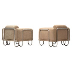 French Lounge Chairs with Tubular Frames