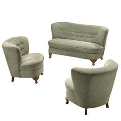 French Lounge Set in Light Green Fabric, 1950s