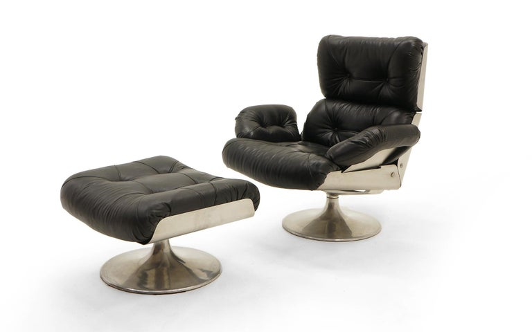 French Lounge Swivel Chair And Ottoman Matte Chrome Cast
