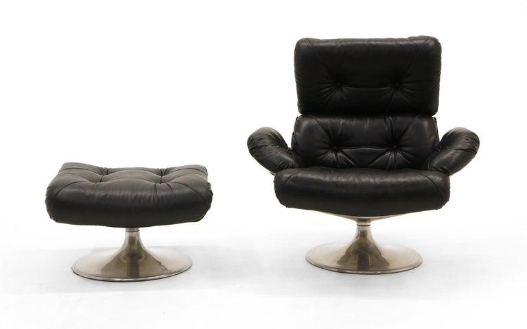 French Lounge Swivel Chair & Ottoman, Matte Chrome, Cast Aluminum, Black Vinyl 3