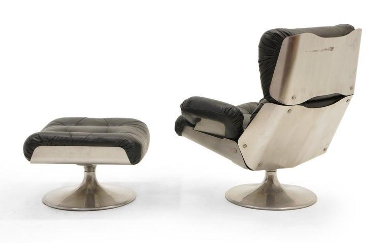 French Lounge Swivel Chair & Ottoman, Matte Chrome, Cast Aluminum, Black Vinyl 4
