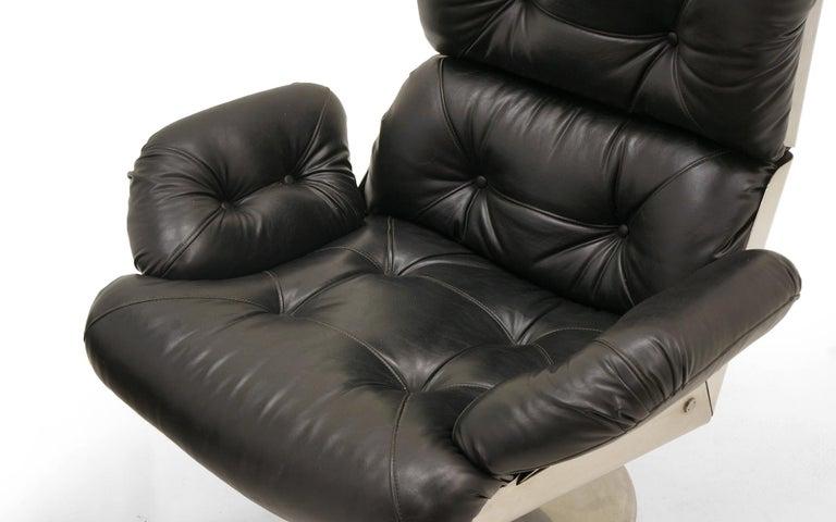 French Lounge Swivel Chair & Ottoman, Matte Chrome, Cast Aluminum, Black Vinyl 6