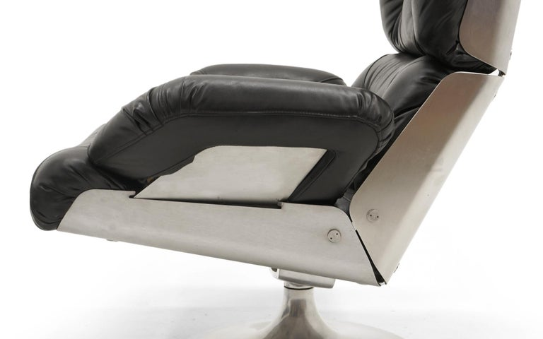 French Lounge Swivel Chair & Ottoman, Matte Chrome, Cast Aluminum, Black Vinyl 7